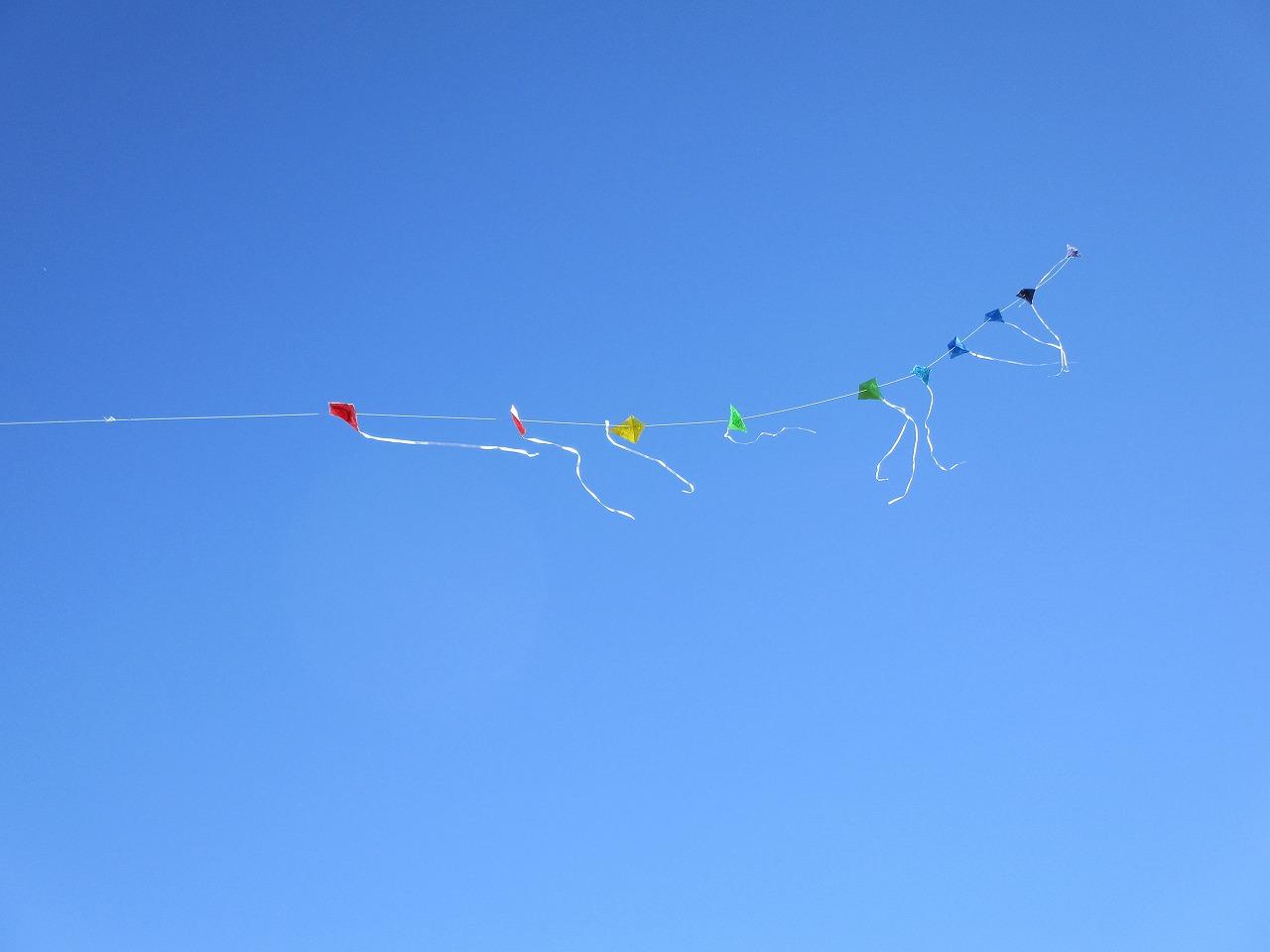 連凧が大空にたなびいています